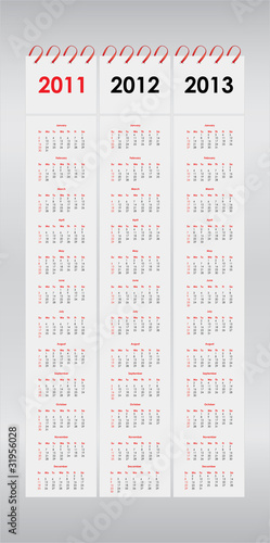 set of 2011, 2012 and 2013 calendar