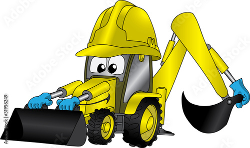 Funny cartoon picture with tractor or excavator in helmet