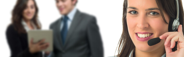 Woman with headset banner