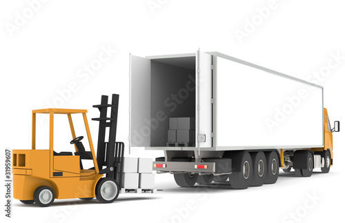 Forklift loading a Trailer. Part of warehouse series.