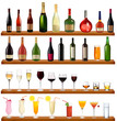 Set of different drinks and bottles on the wall. Vector.