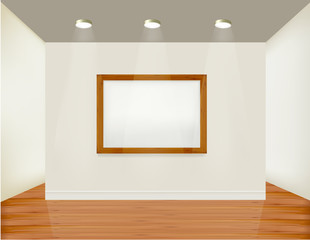 Empty frame on wall with spot lights. Vector