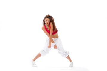 modern slim hip-hop style woman dancer break dancing i