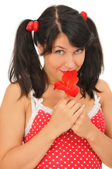 pretty girl with red flower