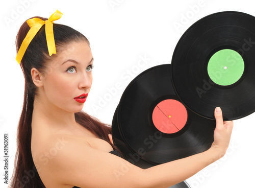 pretty longhair girl offer to listen retro vinyl discs
