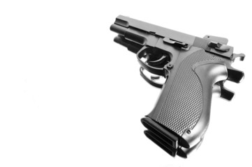 Angle view of a pistol isolated over white