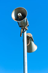 loudspeaker against blue sky
