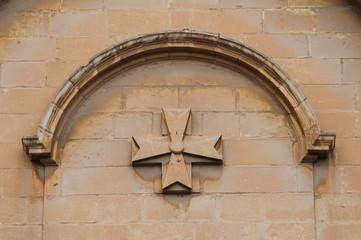 Maltese cross on wall