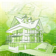 Ecology architecture design: house, plans & green bokeh backgrou