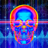 Thermal image of the human skull, blue technology background, li