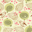 Cute bird floral seamless pattern