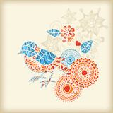 Decorative bird floral background