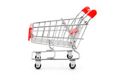 isolated empty shopping cart on white background