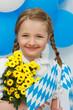 Bairisch...Mädchen, Blumen, Fähnchen