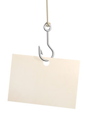 Sheet of paper on fishing hook