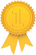 First place award ribbon golden. Winner number one medal icon