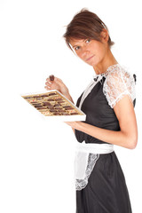 young waitress in retro waitress uniform and chocolates box