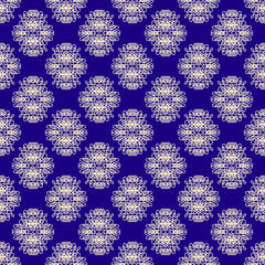 Creme and Blue Swirly Damask Seamless Pattern