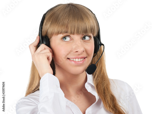 Portrait of a pretty young female call center employee