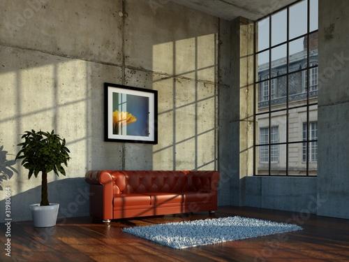 rotes ledersofa im loft vor betonwand von virtua73 lizenzfreies foto 31980684 auf. Black Bedroom Furniture Sets. Home Design Ideas