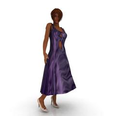 Frau im lila gemusterten Kleid