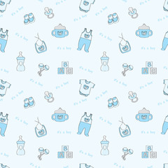 It's a boy: blue seamless background with baby elements