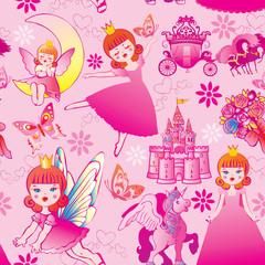 Seamless princess pattern. Vector art-illustration.