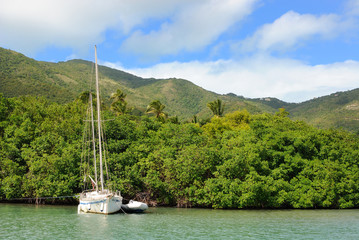 Sailboat at Nanny Cay, British Virgin Islands in the Caribbean