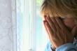 Closeup portrait of mature woman feeling stressed