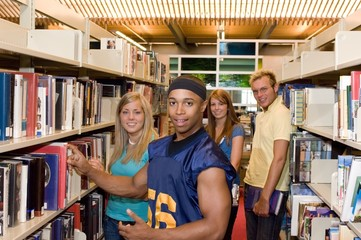 Young Adults In A Library