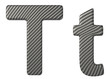 Carbon fiber font T lowercase and capital letters
