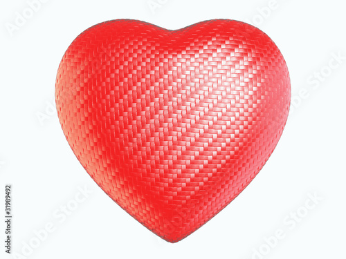 Red wattled fiber heart shape isolated