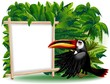 Tucano Cartoon con Pannello-Toucan Jungle Background-Vector