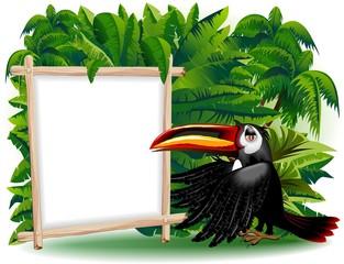 Tucano Cartoon con Pannello-Toucan Jungle Background-Vector