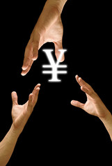 Big hand to share Yen icon, concept