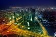 Panorama Dubai city at night