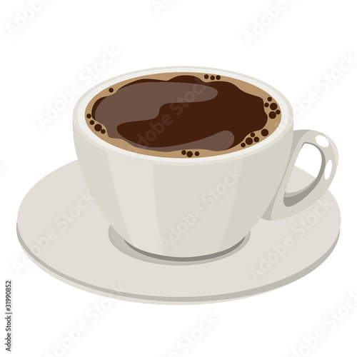Cup of hot coffee. No gradients,no meshes