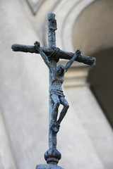 Iron christian cross with Christ.