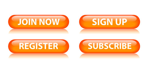 JOIN NOW - SIGN UP - REGISTER - SUBSCRIBE Orange Web Buttons Set
