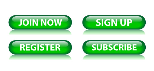 JOIN NOW - SIGN UP - REGISTER - SUBSCRIBE Green Web Buttons Set