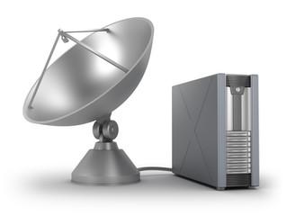 Server connected via sattelite. Isolated on white