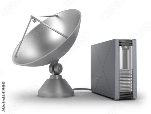Server connected via sattelite. Isolated on white