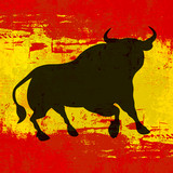 Bull over Spanish Flag Vector Background