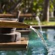 Fontaine en bambou dans un jardin - 31997222