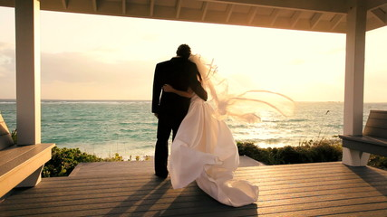 Attractive Couple Sunset Island Wedding