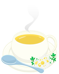 camomile with teaspoon and flowers. clipping path included