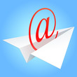 E-mail symbol flying on paper plane.