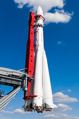 copy of rocket Vostok in All-Russia exhibition centre in Moscow