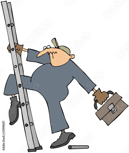 Worker Slipping On A Broken Ladder