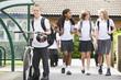 Junior school children leaving school